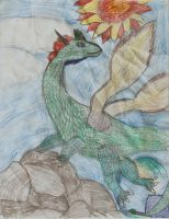 Old Dragon Drawing by Jezzia