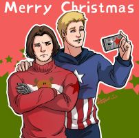 Merry Christmas _ Captain America+Winter Soldier by pastellZHQ