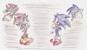 Sonic and Shadow Lineart *old* (archie comics) by evolvd-studios