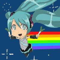 Miku hatsune nyan cat by infernal1021
