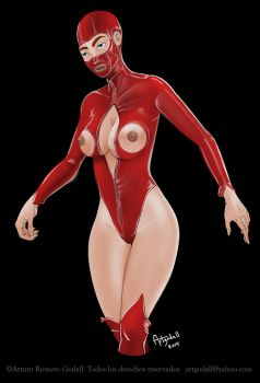 chica en latex rojo. Girl in red latex suit by artgodall