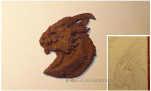 Flat Dragon Head Sculpture by lyoth737