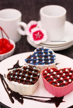 Dark Chocolate Mousse In Chocolate Heart Shells by theresahelmer
