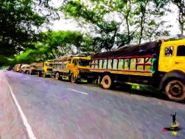 Trucks and Road by rajjib