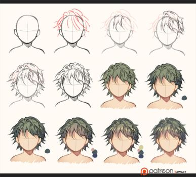 Hair - sketch to coloring by kawacy