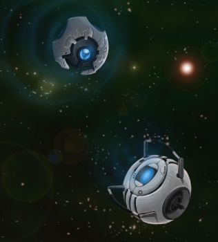 Two blue spheres in space. by Swods
