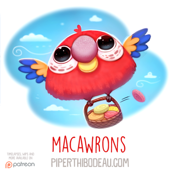 Daily Paint 1585. Macawrons by Cryptid-Creations