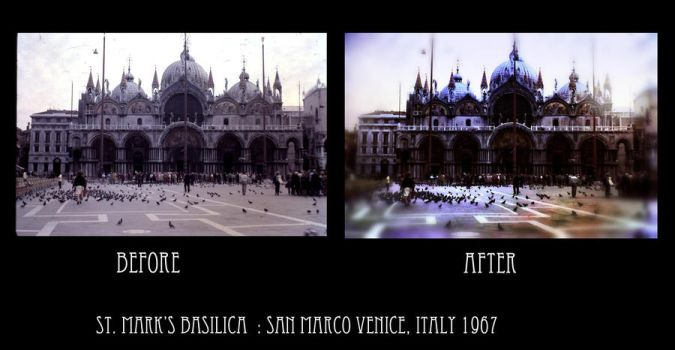 San Marco Venice Italy 1967 before after by bloomingvinedesign