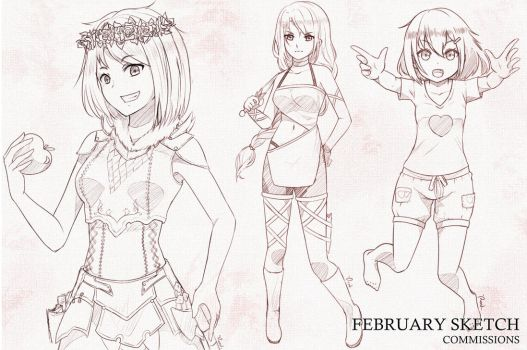 February Sketch Commissions by fa-rend