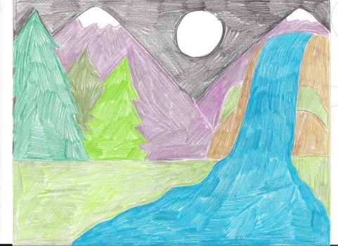 mountains and a waterfall by rosepetal179