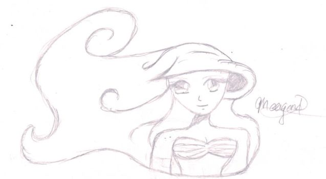 Princess Ariel Head Sketch by DisneyPrincessLover