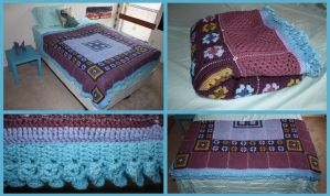 Purple and Blue Crochet Granny Square Blanket by sapphiresphinx