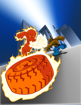 Human Torch and Thing by Peter-Hon