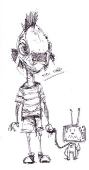 Fish Head boy and his T.V. dog by halcyonblack
