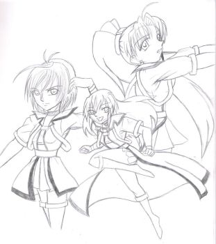 Beautiful Girls Trio WIP by KumagoroBunnyGirls