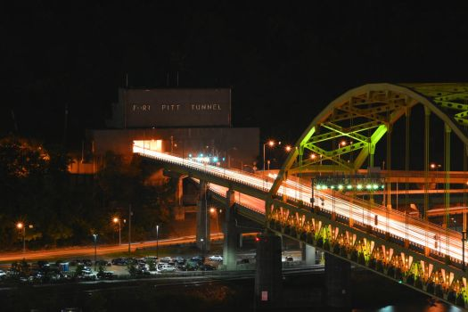 Fort Pitt Bridge and Tunnel at Night by PixieTheCat