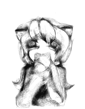Sad kitty by kittyvampcake