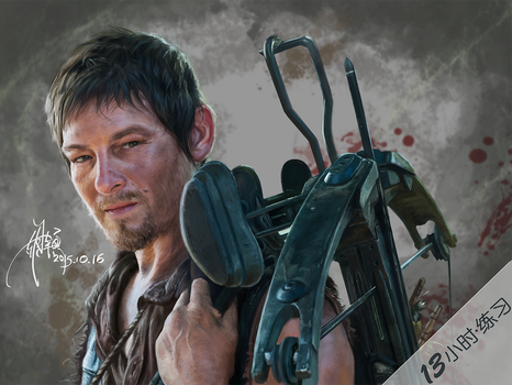 2015-10-16A Character of The Walking Dead_Daryl by yuilovepainting