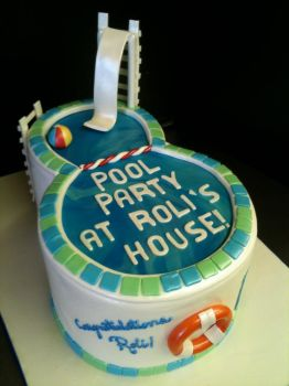 Pool Party Cake by Spudnuts
