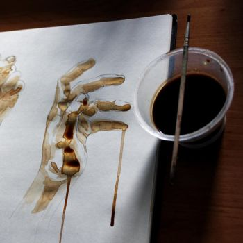Hand sketches made in coffee by sidesize