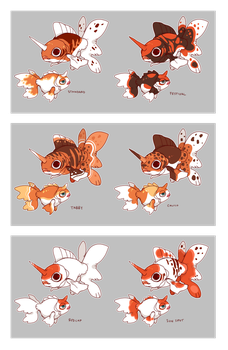 Goldeen and Seaking Variations by CoryKatze