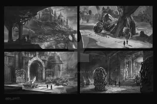 Environment Thumbnail Sketches by Anday