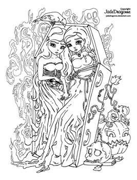 The twins - 2015 Halloween coloring contest by JadeDragonne