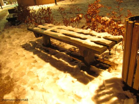 Bench Glows in the Snow by themusicalnomad
