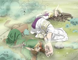 Link Tickles Zelda Final by PawFeather