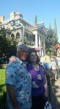 Dad and I by the haunted mansion holiday ride  by PrincessCarol