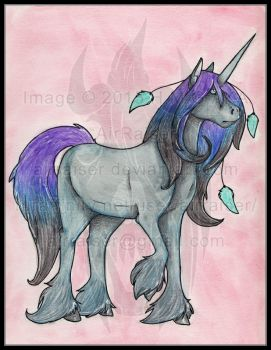 Original: Watercolor and Ink Dark Unicorn 2015 by AirRaiser