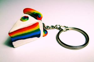 rainbow cake keychain by little-ampharos