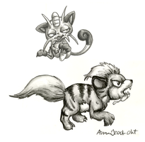 2001 - Meowth and Growlithe by AnnaJ
