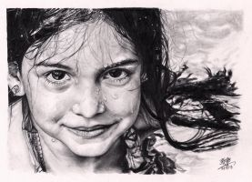 Little girl with wet face (pencil drawing) by chaseroflight