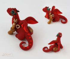 Red Steampunk Dragon by LitefootsLilBestiary