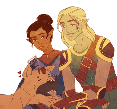 my warden, my pup, and my elf boyfriend! by Jackie-lyn