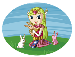 Spirit Tracks Zelda and Bunnies by Icy-Snowflakes