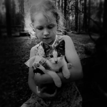 girl and cat by Iridescent-happinesS