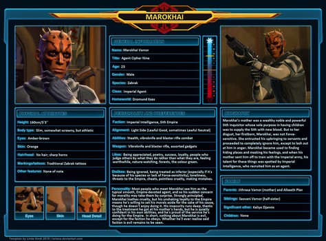 SWTOR Character Sheet - Marokhai by Skyflower51