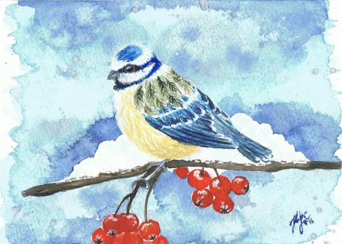 Winter Tit on a Rowan tree by Daydreamer-Art-Craft