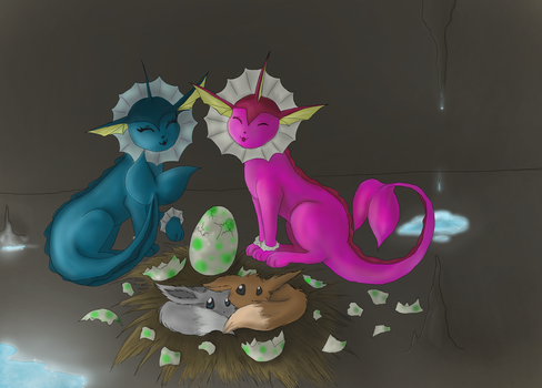 Vaporeon Family. by LordMcWhiskers