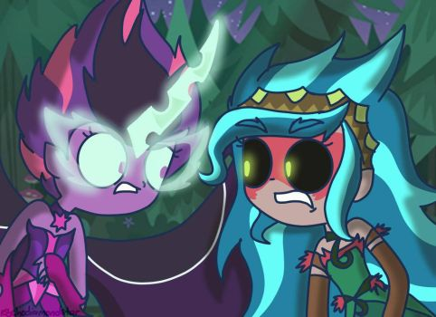 Midnight Sparkle meets Gaia Everfree by psychodiamondstar