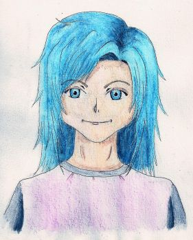 Girl with blue hair by Fixtri