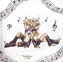 Kagamine Twins by TinyPaperStars