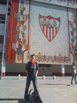 Me in front of the Estadio Ramon Sanchez Pizjuan. by Eaglelives