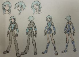 Katlin Snow, Human and Pack Attire by StoneMan85