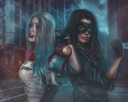 Black Canary and Harley by EnterDiamond