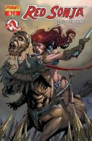 Red Sonja color cover by Adrianohq