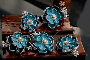 Bride's Maids: the Bridal Party in Lotuses.  Teal. by hanatsukuri