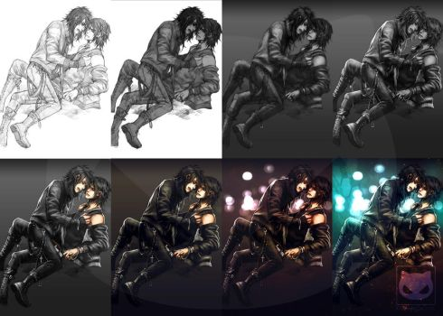 Coloring traditional art in Photoshop by Yaoi-World